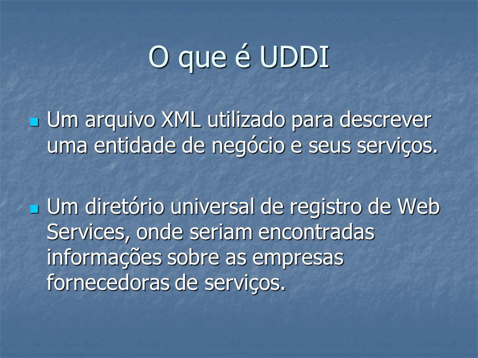 O que é UDDI Um arquivo XML utilizado para descrever uma entidade de negócio e seus serviços.