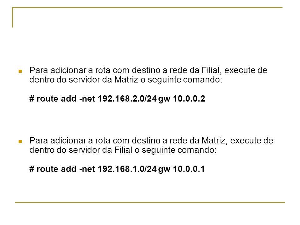 Para adicionar a rota com destino a rede da Filial, execute de dentro do servidor da Matriz o seguinte comando: # route add -net 192.168.2.0/24 gw 10.0.0.2