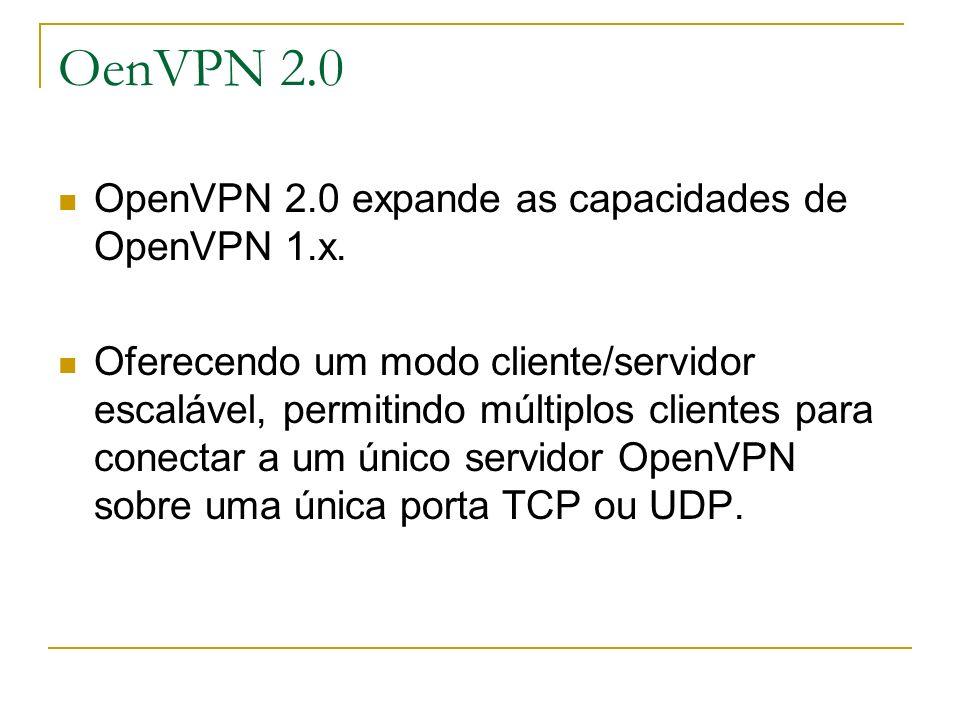 OenVPN 2.0 OpenVPN 2.0 expande as capacidades de OpenVPN 1.x.