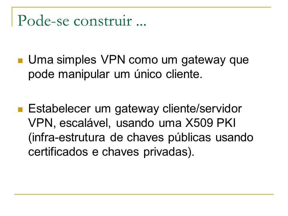 Pode-se construir ...Uma simples VPN como um gateway que pode manipular um único cliente.