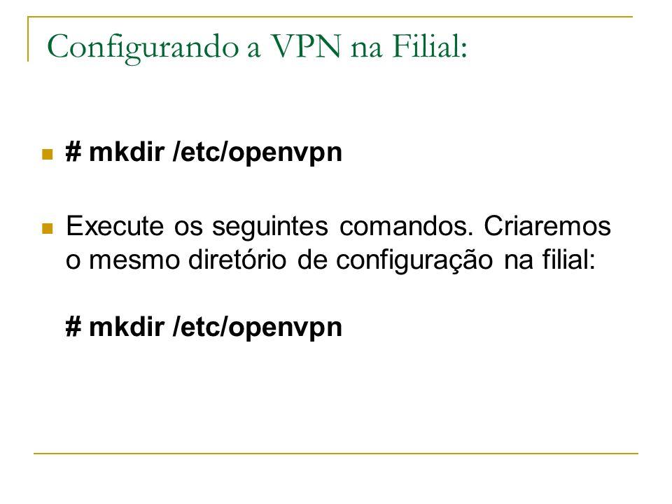 Configurando a VPN na Filial: