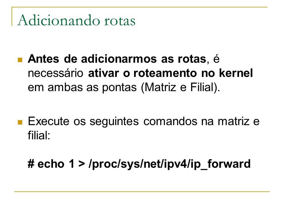 Adicionando rotas Antes de adicionarmos as rotas, é necessário ativar o roteamento no kernel em ambas as pontas (Matriz e Filial).