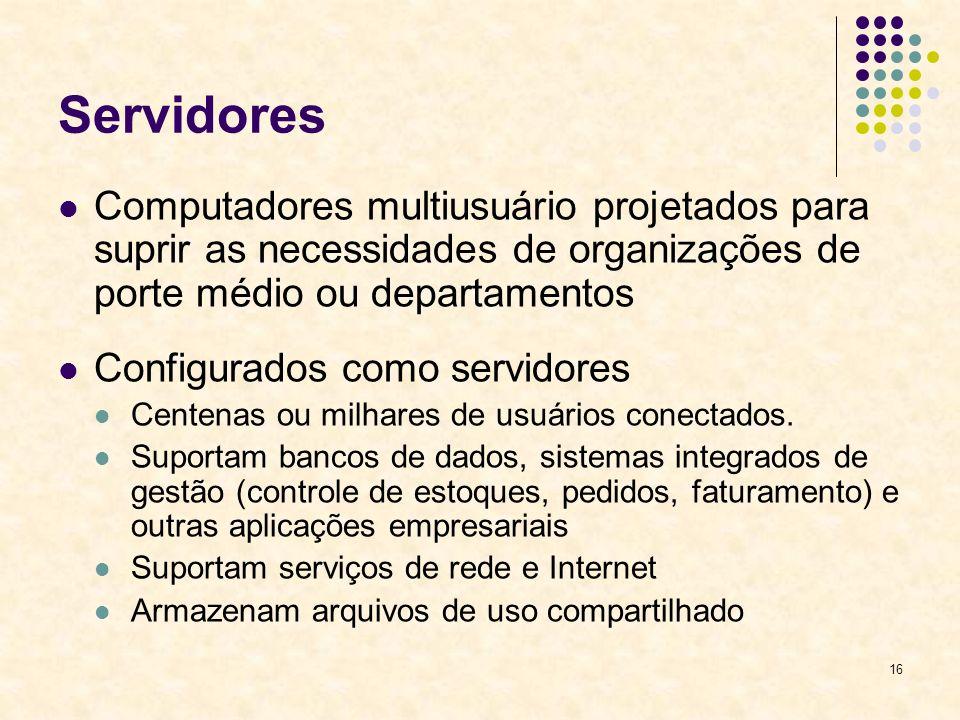 Servidores Computadores multiusuário projetados para suprir as necessidades de organizações de porte médio ou departamentos.