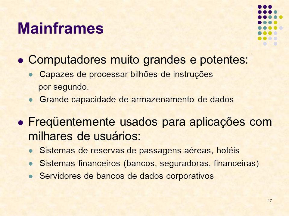 Mainframes Computadores muito grandes e potentes: