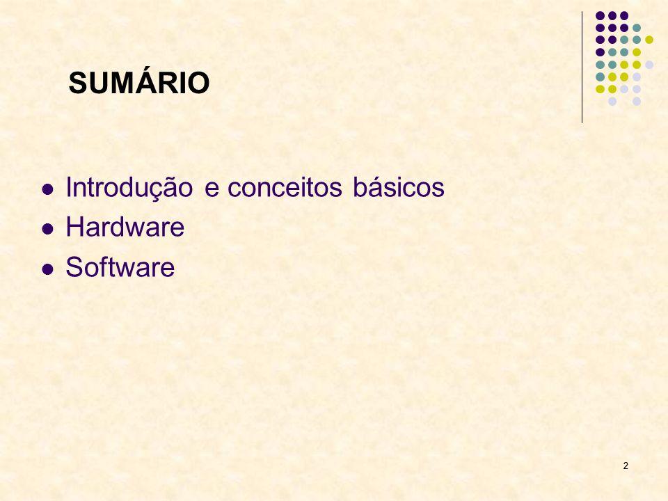 SUMÁRIO Introdução e conceitos básicos Hardware Software 2
