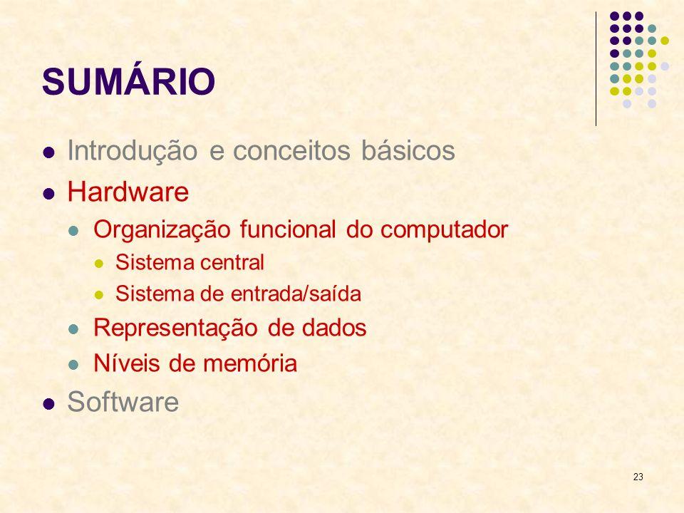 SUMÁRIO Introdução e conceitos básicos Hardware Software