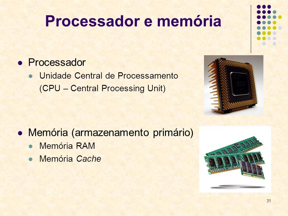 Processador e memória Processador Memória (armazenamento primário)