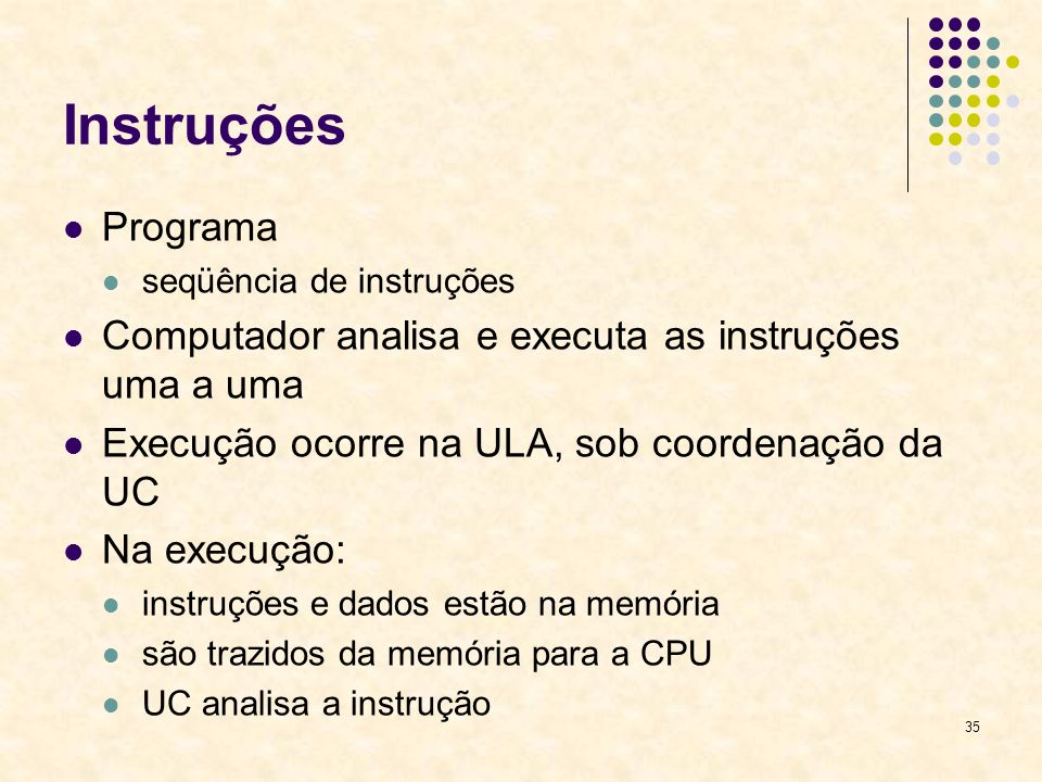 InstruçõesPrograma. seqüência de instruções. Computador analisa e executa as instruções uma a uma. Execução ocorre na ULA, sob coordenação da UC.