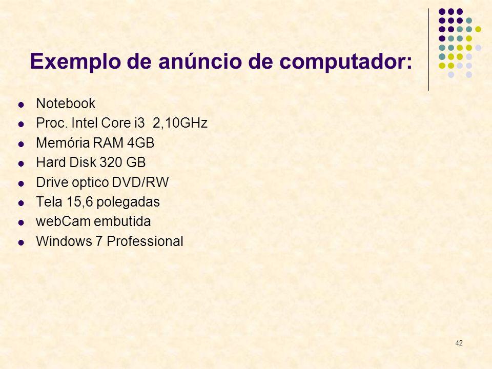 Exemplo de anúncio de computador: