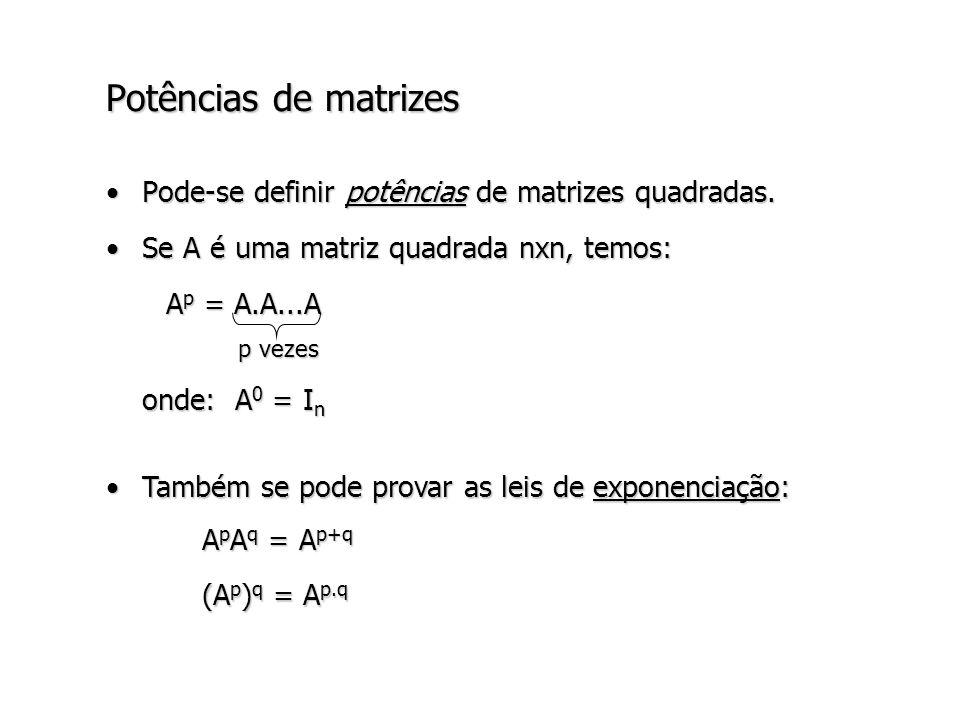 Potências de matrizes Pode-se definir potências de matrizes quadradas.