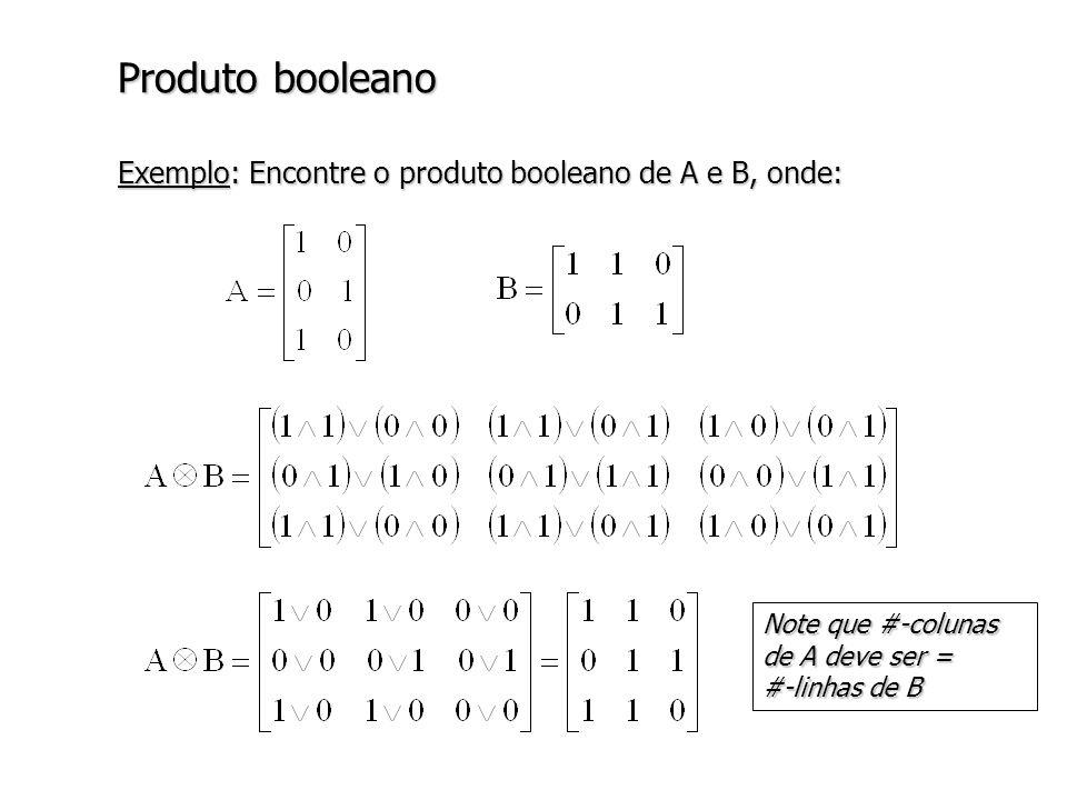 Produto booleano Exemplo: Encontre o produto booleano de A e B, onde: