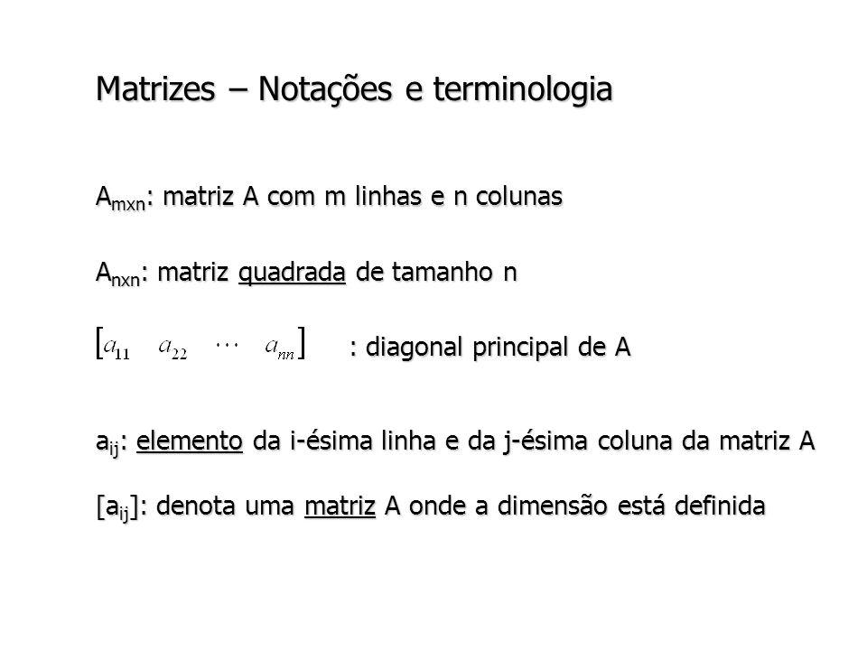 Matrizes – Notações e terminologia