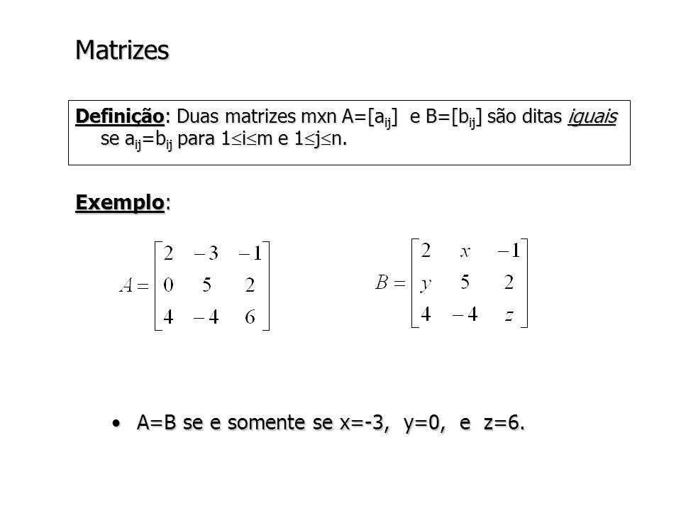 Matrizes Exemplo: A=B se e somente se x=-3, y=0, e z=6.