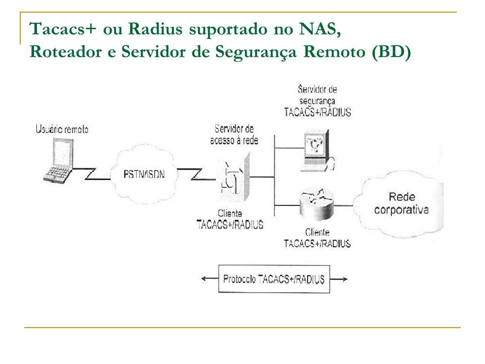 Tacacs+ ou Radius suportado no NAS, Roteador e Servidor de Segurança Remoto (BD)
