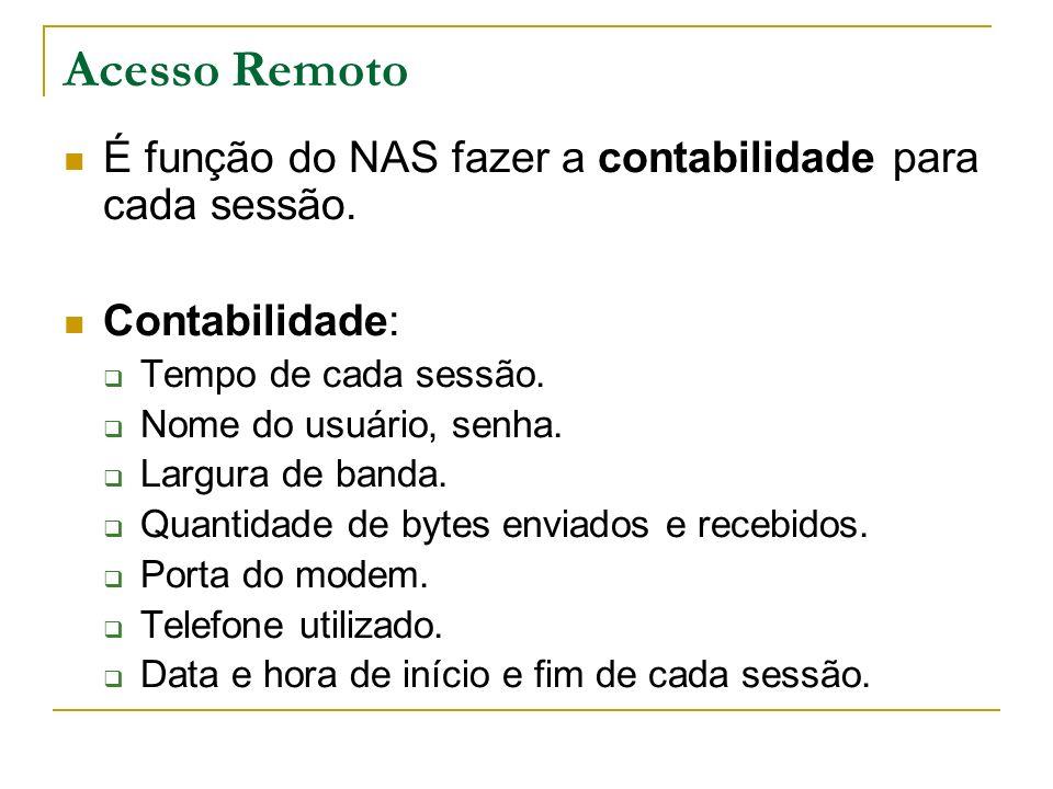 Acesso Remoto É função do NAS fazer a contabilidade para cada sessão.