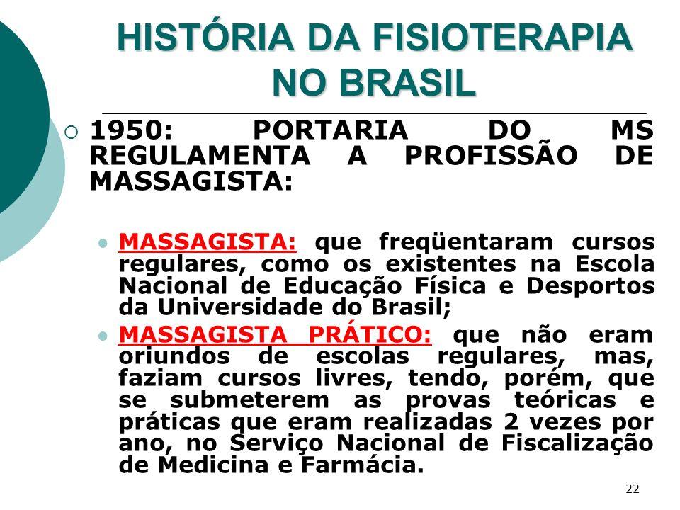 HISTÓRIA DA FISIOTERAPIA NO BRASIL