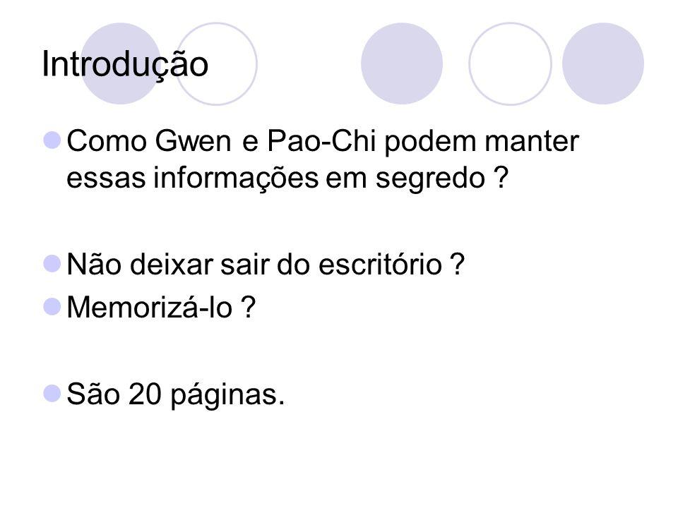 Introdução Como Gwen e Pao-Chi podem manter essas informações em segredo Não deixar sair do escritório