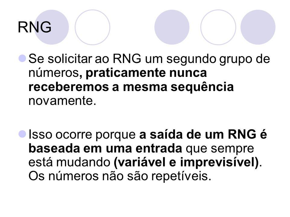RNG Se solicitar ao RNG um segundo grupo de números, praticamente nunca receberemos a mesma sequência novamente.