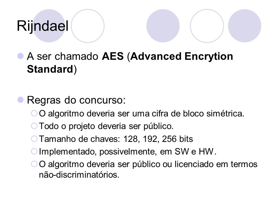 Rijndael A ser chamado AES (Advanced Encrytion Standard)