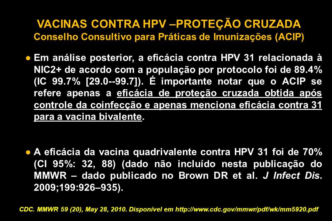 VACINAS CONTRA HPV –PROTEÇÃO CRUZADA