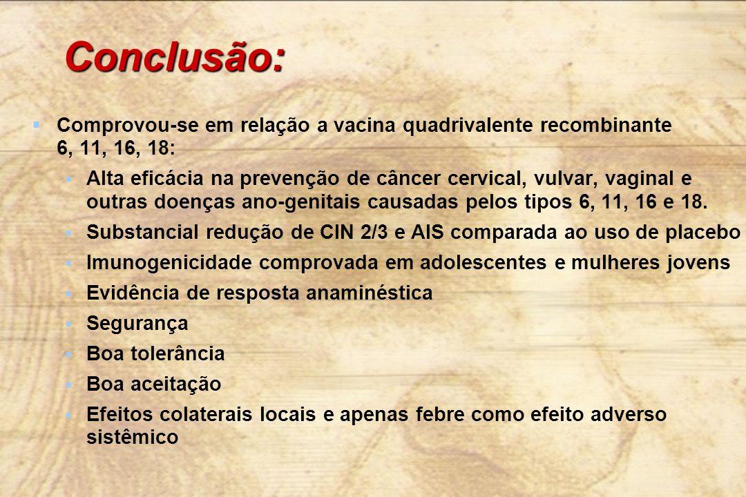 Conclusão: Comprovou-se em relação a vacina quadrivalente recombinante 6, 11, 16, 18: