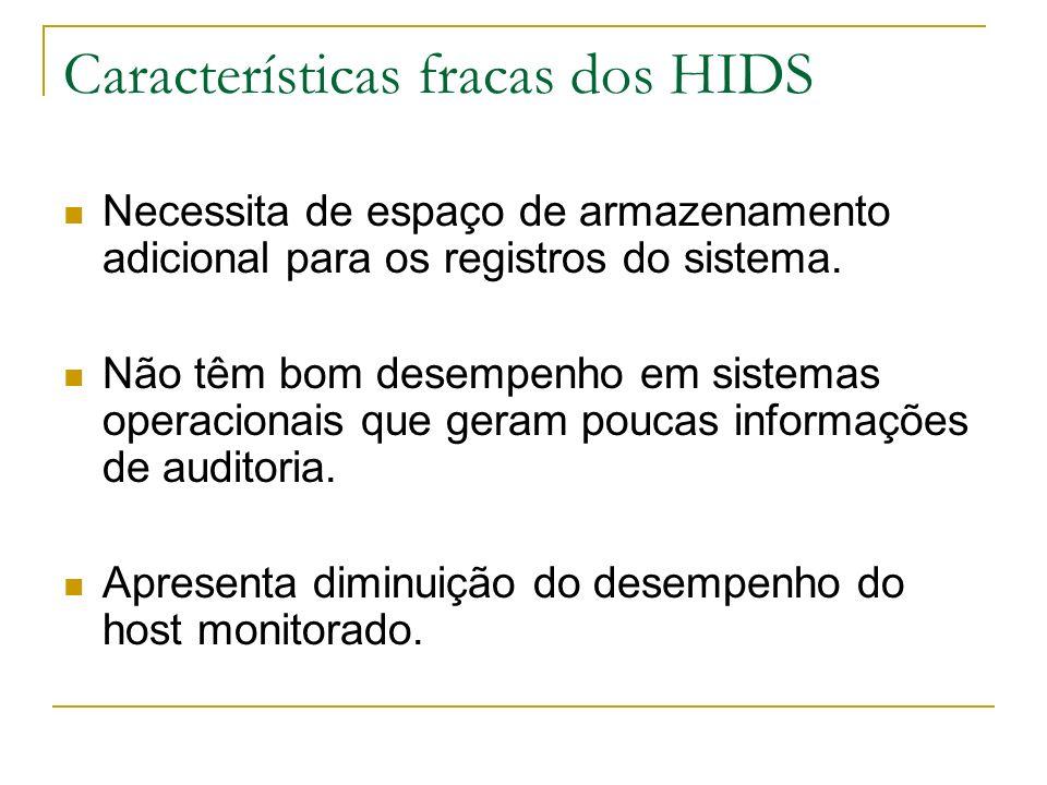 Características fracas dos HIDS