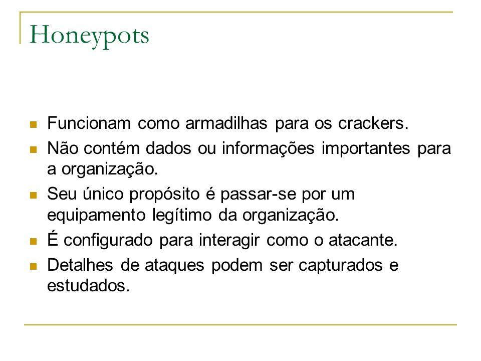 Honeypots Funcionam como armadilhas para os crackers.