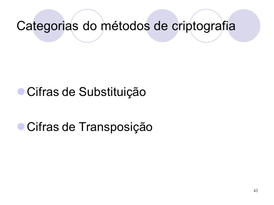 Categorias do métodos de criptografia