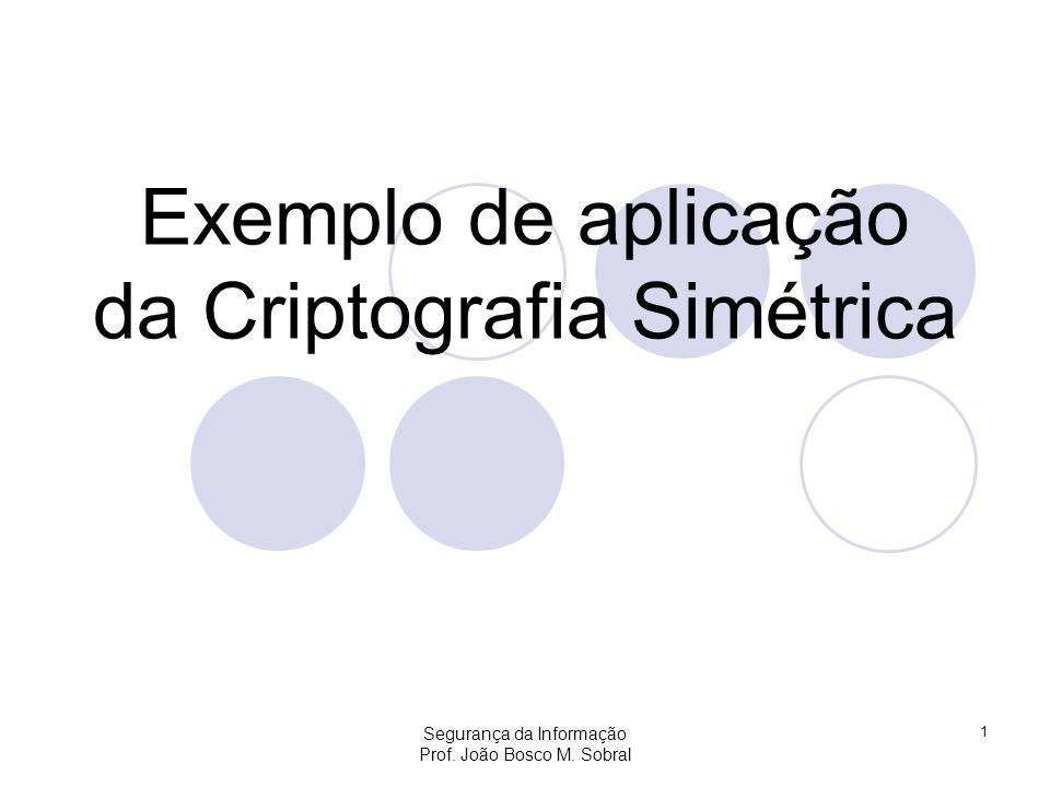 Exemplo de aplicação da Criptografia Simétrica