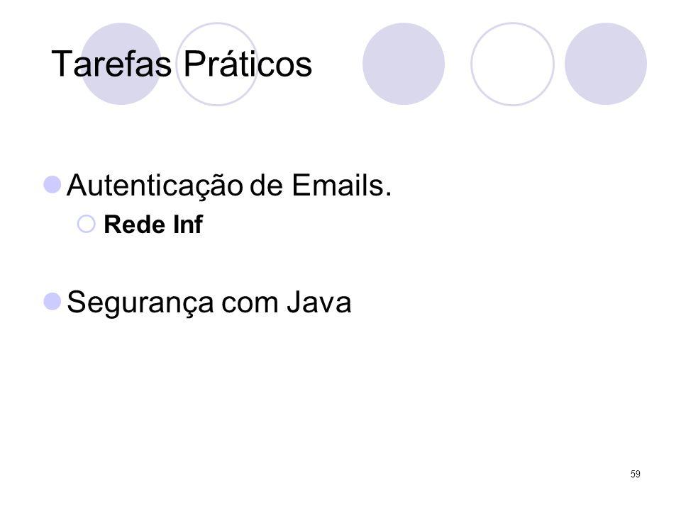 Tarefas Práticos Autenticação de Emails. Rede Inf Segurança com Java