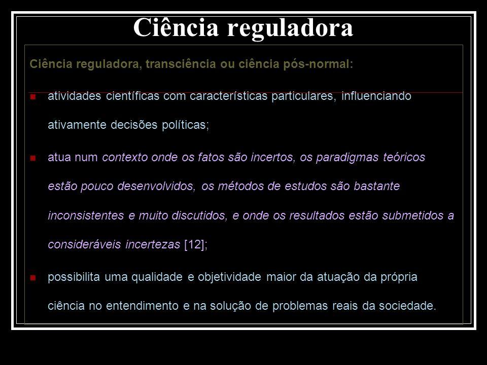 Ciência reguladora Ciência reguladora, transciência ou ciência pós-normal: