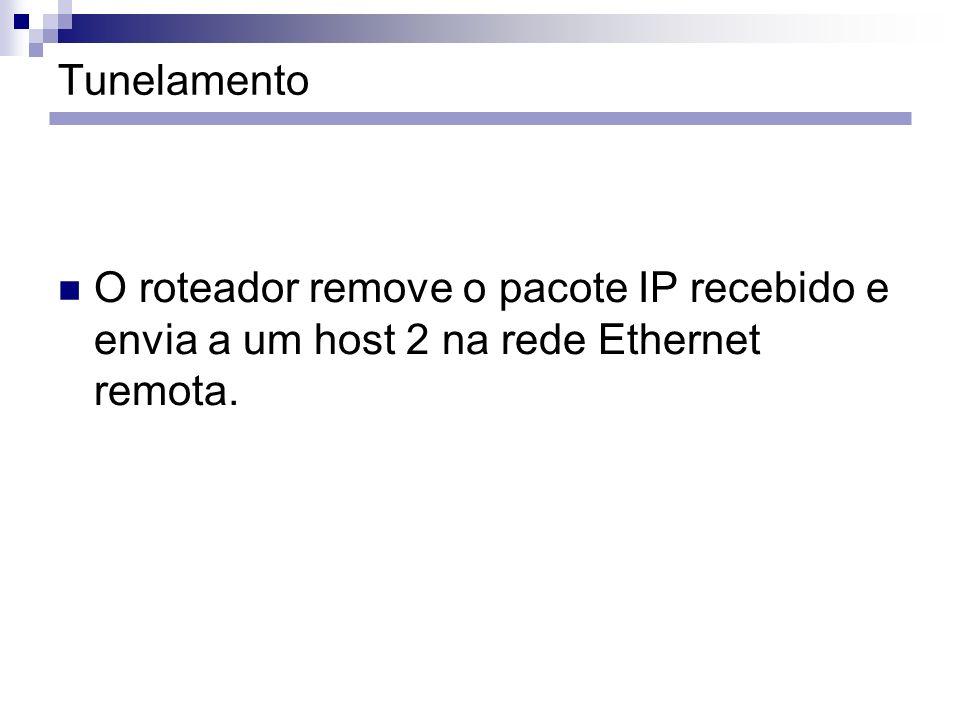 Tunelamento O roteador remove o pacote IP recebido e envia a um host 2 na rede Ethernet remota.