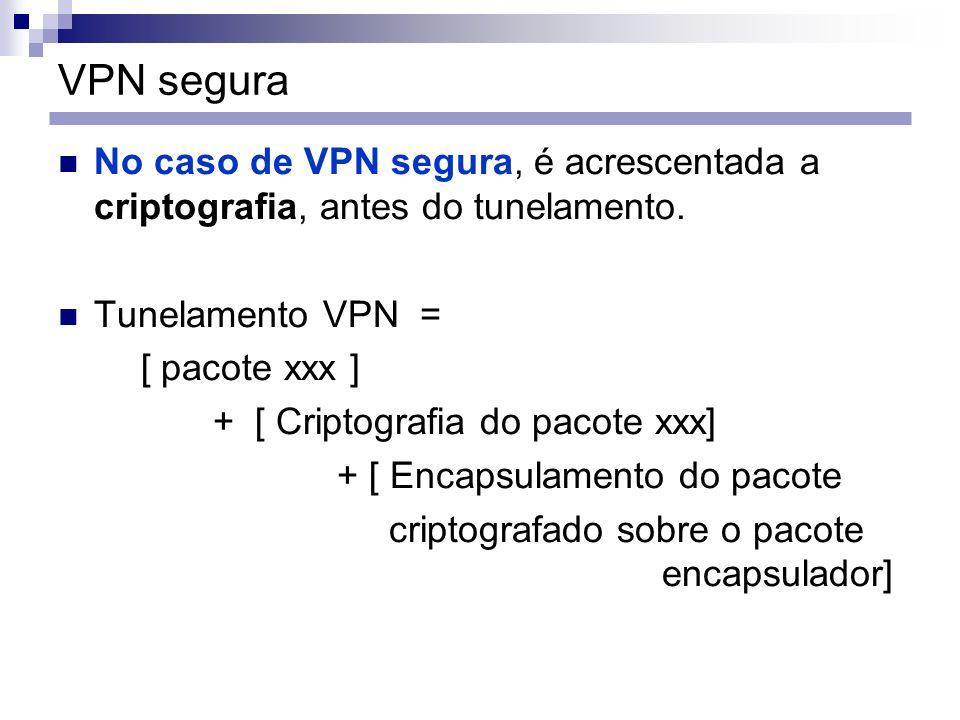 VPN segura No caso de VPN segura, é acrescentada a criptografia, antes do tunelamento. Tunelamento VPN =