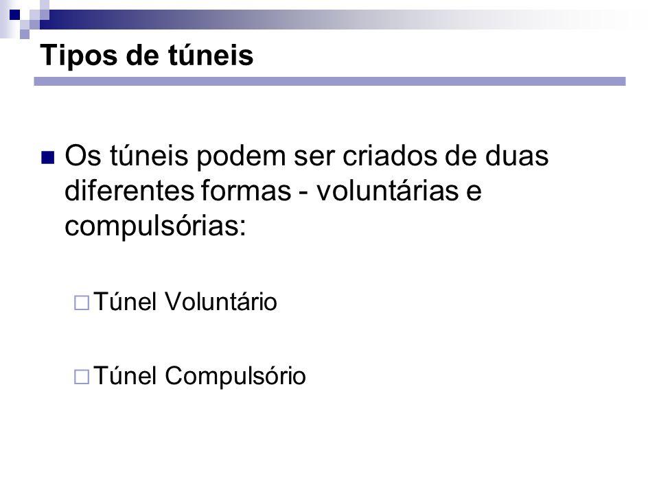Tipos de túneis Os túneis podem ser criados de duas diferentes formas - voluntárias e compulsórias: