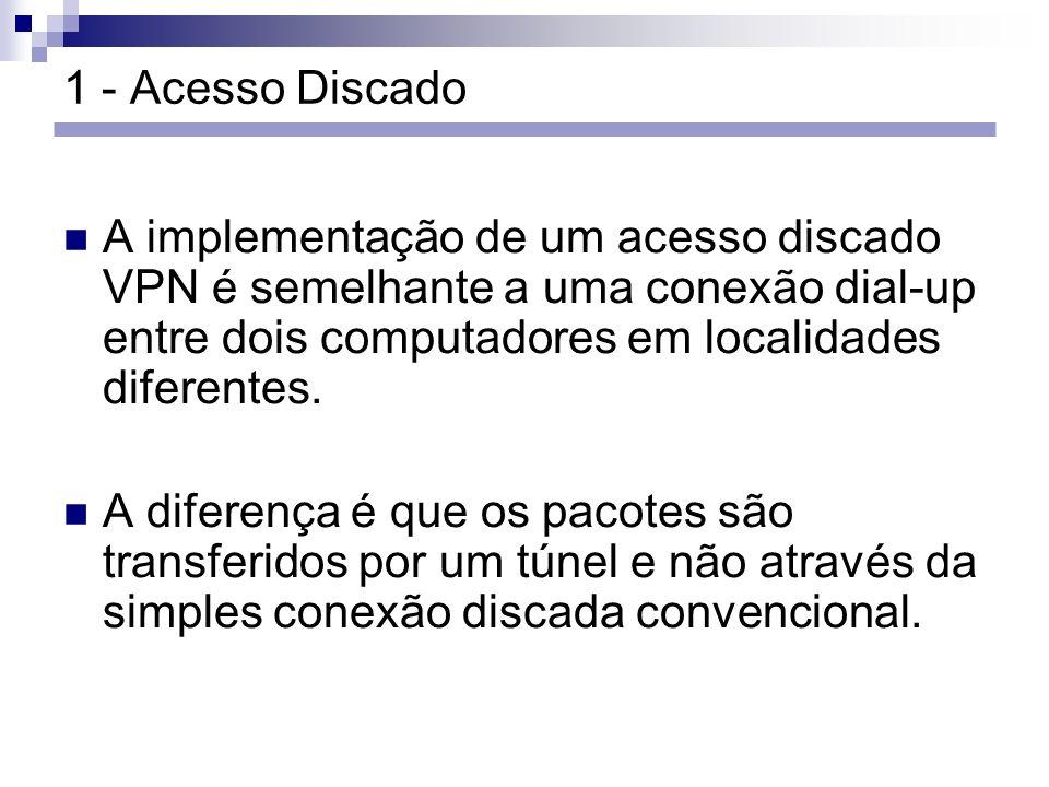 1 - Acesso Discado A implementação de um acesso discado VPN é semelhante a uma conexão dial-up entre dois computadores em localidades diferentes.