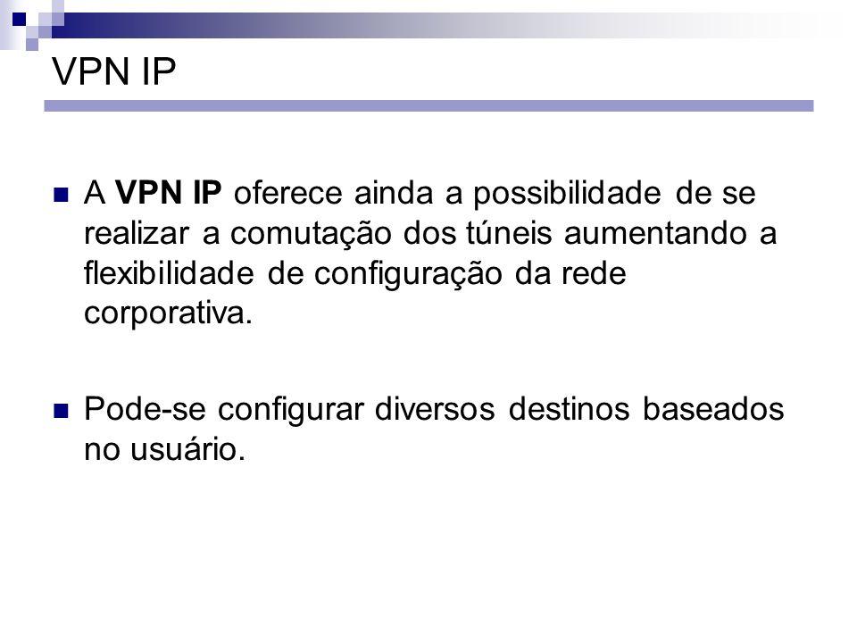 VPN IP A VPN IP oferece ainda a possibilidade de se realizar a comutação dos túneis aumentando a flexibilidade de configuração da rede corporativa.