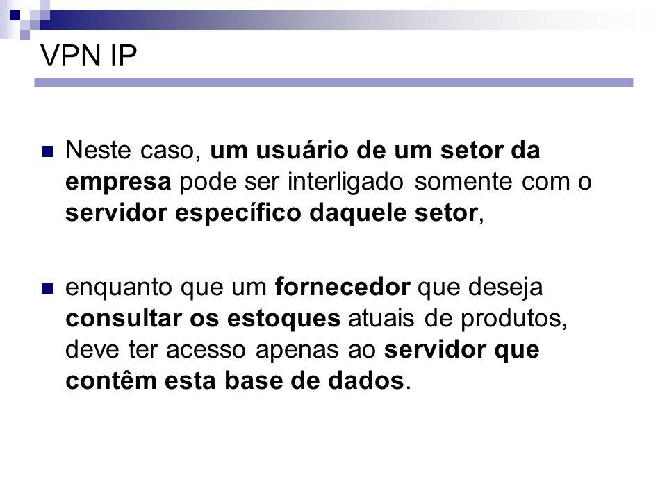 VPN IP Neste caso, um usuário de um setor da empresa pode ser interligado somente com o servidor específico daquele setor,