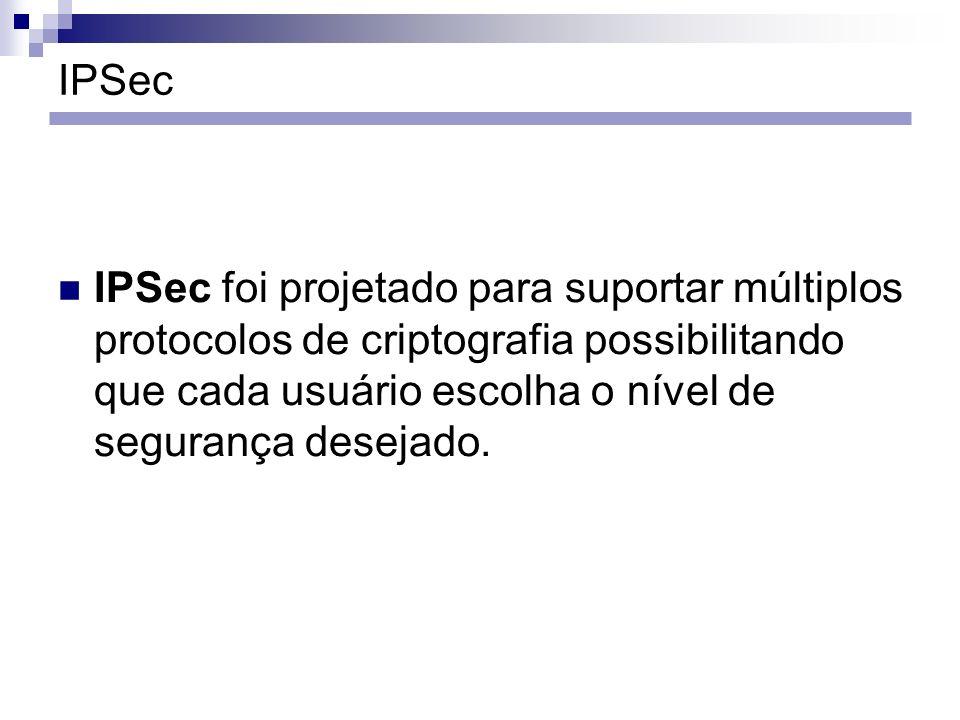 IPSec IPSec foi projetado para suportar múltiplos protocolos de criptografia possibilitando que cada usuário escolha o nível de segurança desejado.
