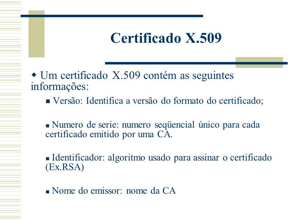 Certificado X.509 Um certificado X.509 contém as seguintes informações: Versão: Identifica a versão do formato do certificado;