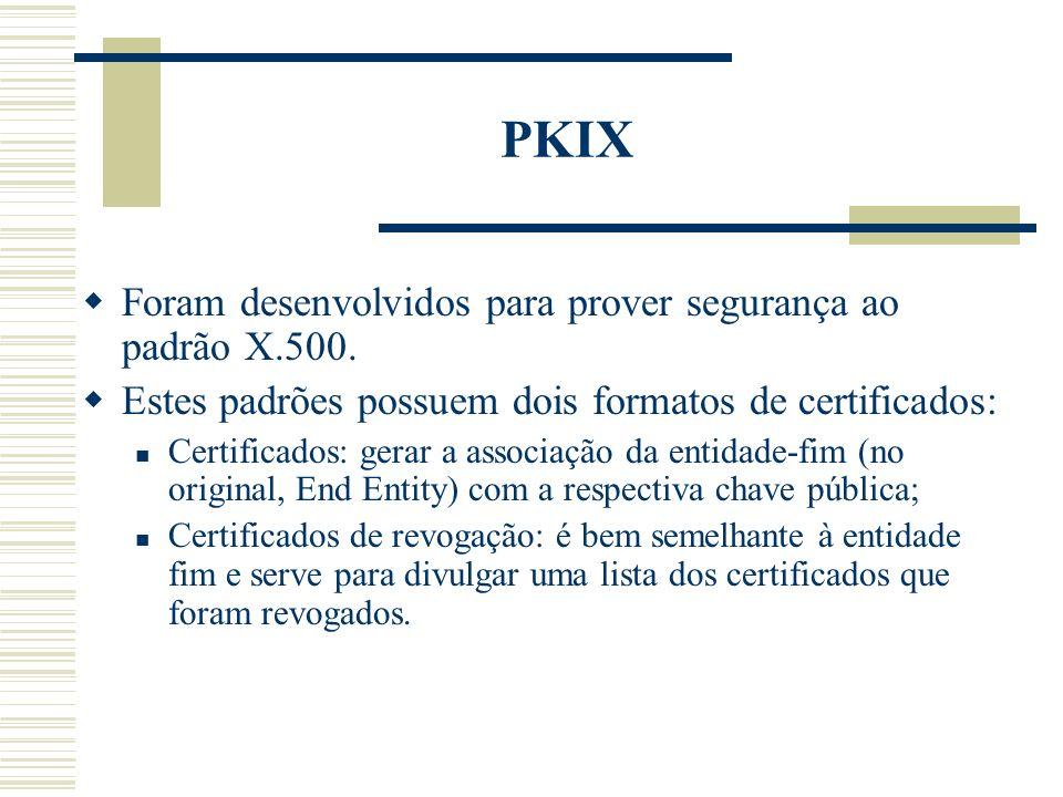 PKIX Foram desenvolvidos para prover segurança ao padrão X.500.