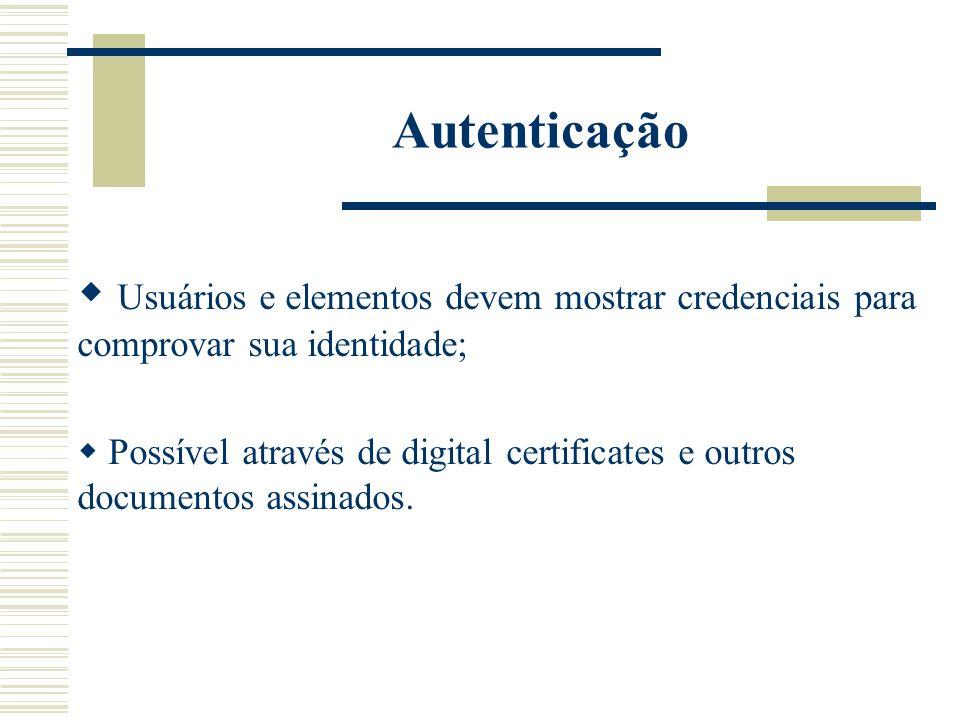 Autenticação Usuários e elementos devem mostrar credenciais para comprovar sua identidade;