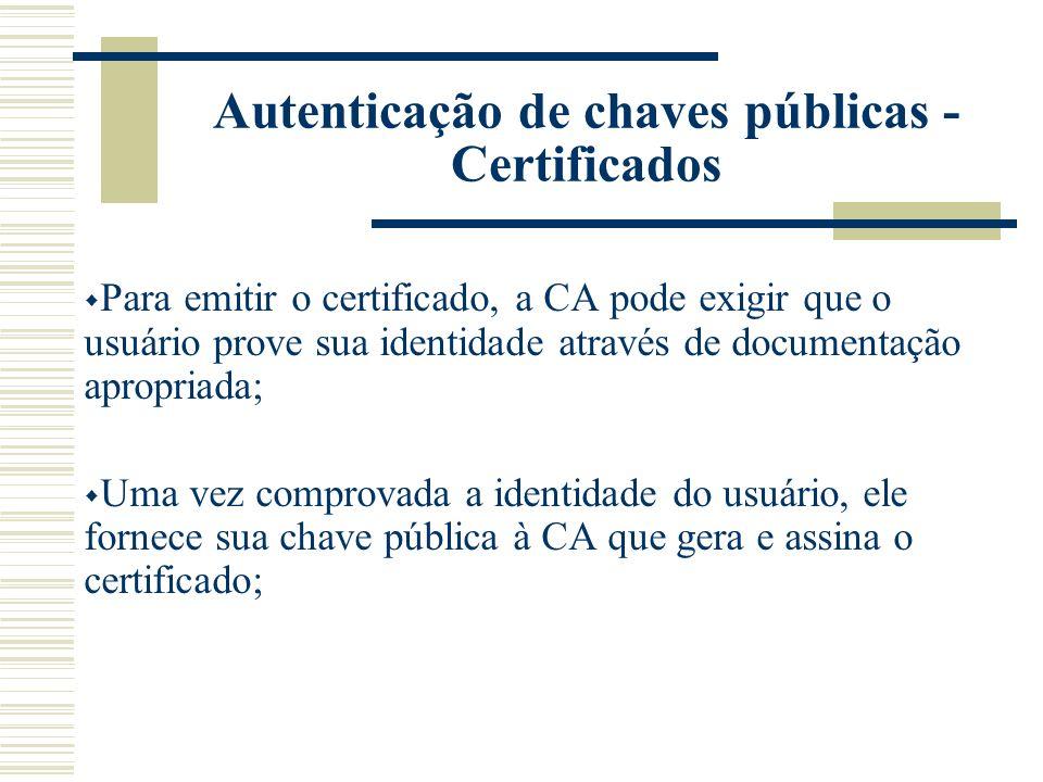 Autenticação de chaves públicas - Certificados