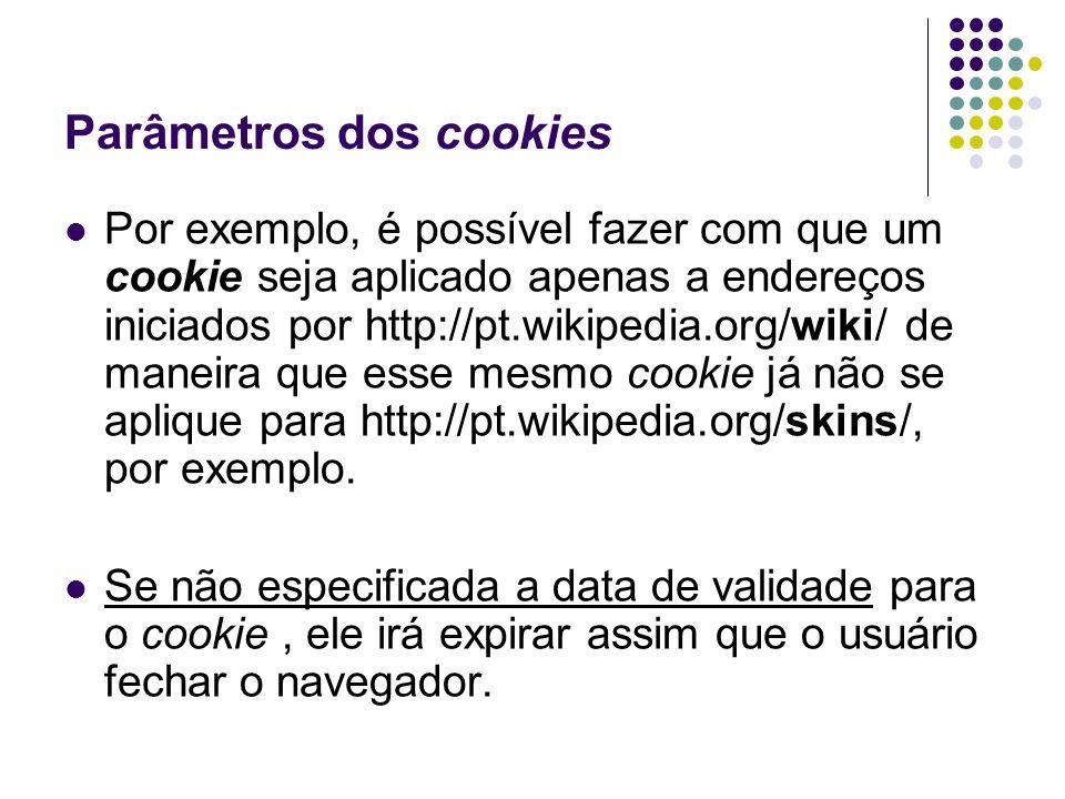 Parâmetros dos cookies