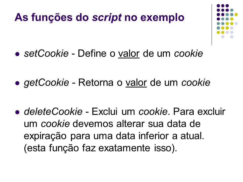 As funções do script no exemplo