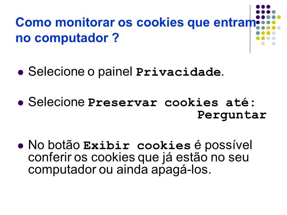Como monitorar os cookies que entram no computador