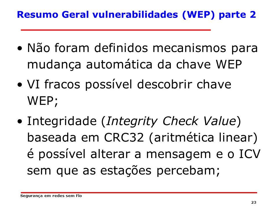 Resumo Geral vulnerabilidades (WEP) parte 2
