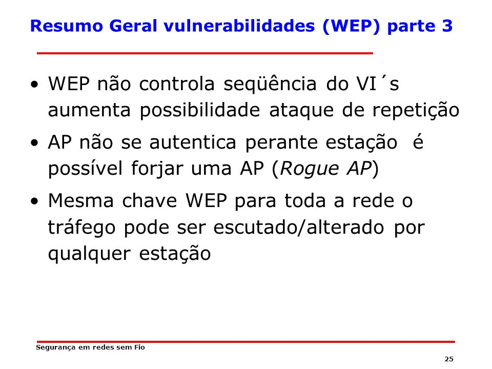 Resumo Geral vulnerabilidades (WEP) parte 3