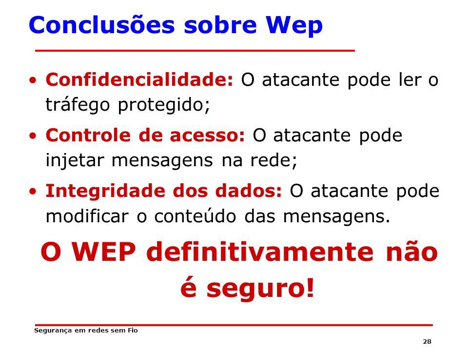 O WEP definitivamente não é seguro!