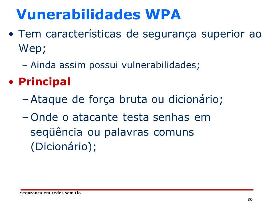 Vunerabilidades WPA Tem características de segurança superior ao Wep;