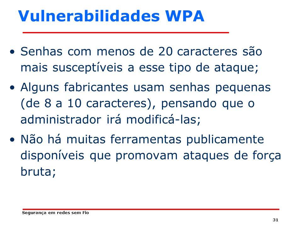 Vulnerabilidades WPA Senhas com menos de 20 caracteres são mais susceptíveis a esse tipo de ataque;